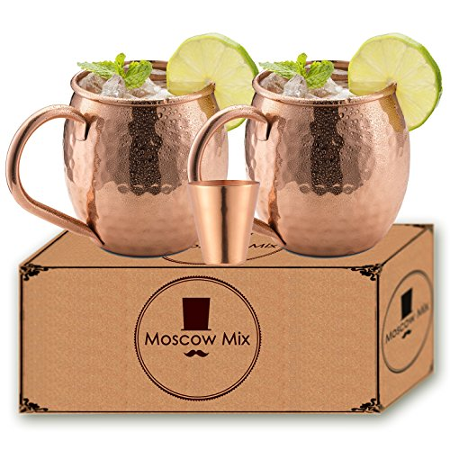 Moscow Mule Copper Mugs – Set of 2 Moscow Mule Copper Mugs with Free Shot Glass – Gift Set – 16 Ounce