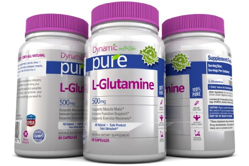L Glutamine Pure acides aminés essentiels, 500mg, 60 capsules