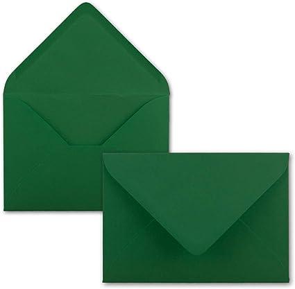 Kuverts in DIN B6 Format 12,5 x 17,6 cm 80 g//m/² 25x Brief-Umschl/äge in Dunkel-Gr/ün Nassklebung ohne Fenster