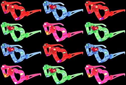 Set of 12 VT Flashing LED Multi Color Love Heart Light Up Show Party Favor Toy Glasses (Colors May Vary)