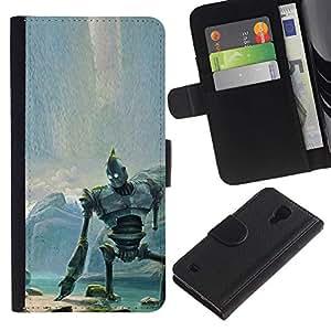 LECELL--Cuero de la tarjeta la carpeta del tirón Smartphone Slots Protección Holder For Samsung Galaxy S4 IV I9500 -- Gigante de hierro --