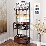 Beautifully Designed Bakers Rack,Etagere-Style Bakers Rack With Exceptional Storage, Built-In Wine Glass Storage Rack, Durable Metal Construction With Wood Shelves and Drawer