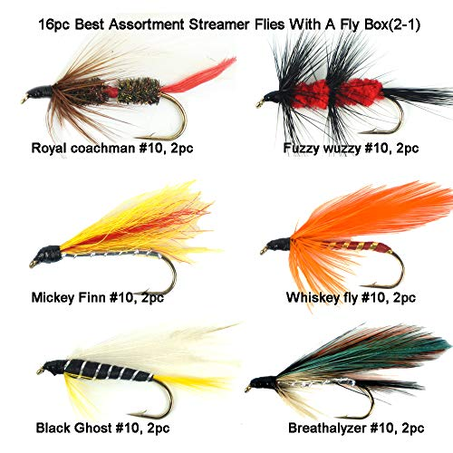 (Riverruns Best Assortment 8 Patterns Streamer Flies Collection Total 16 Flies with A Fly Box, Appetizer, Whiskey, Fuzzy wuzzy, Mickey, Royal Coachman, Ghost, Cats Whisker)