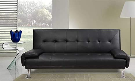 Divano Nero Ecopelle : Frizzo divano letto 194x86cm nero ecopelle 3 posti reclinabile