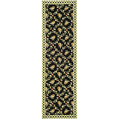 - Safavieh Chelsea Collection HK164A Hand-Hooked Black and Ivory Premium Wool Runner (3' x 6')