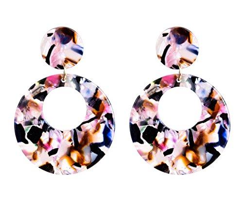 ドール透明に屋内DuRone - ファッションボヘミアン柄の女性のロングピアスファッションジュエリーのための穀物アクリルイヤリングブラブララウンドイヤリング