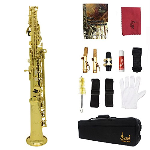 ammoon Soprano Saxophone SAX Bb Brass Lacquered Body and Keys with Lubricating Cork Grease by ammoon