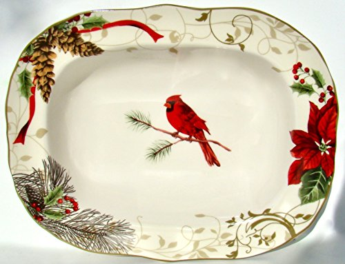 222 Fifth Holiday Wishes Oval Serving/vegetable Bowl - 11 1/4