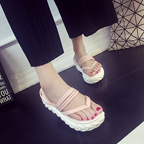 ANBOVER Womens Beach Wedges Platform Thong Slippers Flip Flops Sandals Pink itDCD3r