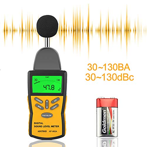 Holdpeak 882A Digital Sound Level Meter(30-130dB),Noise Level Meter Tester,Digital Decibel Meter with LCD Backlight/Max Hold,/Sensitivity Adjustment and dBA/C Switch(Battery Included)