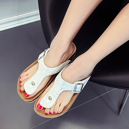 GUANG Summer Style Slippery Gold E Flops Slippers Cork New Drag Foot Flip XING Ladies Ciabatte Beach Sandali qfd5wW
