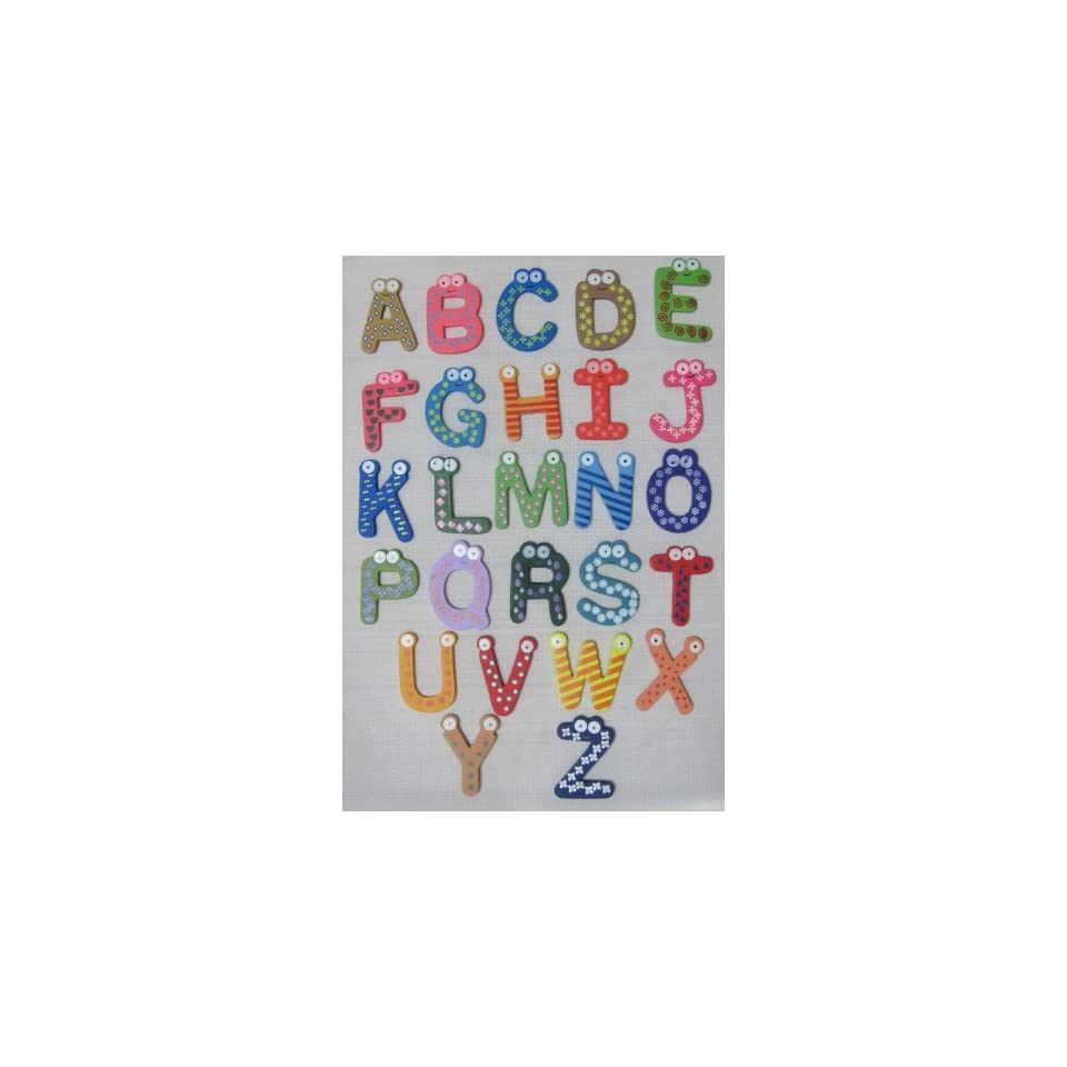 Afrom Here Colorful Magnetic A Z Letters Wooden Fridge Magnets Kid toys Education