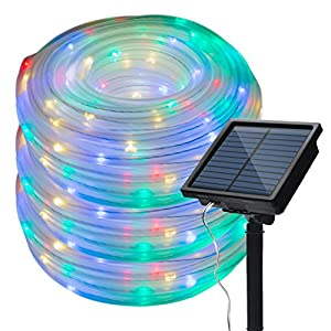 8 Modes Image Solar String Small Rope Lights 66 Feet/20 Meter Waterproof 200LED lights Plus 3 Meters/ 9.84 Feet Cord…