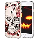 iPhone 7 Case, iPhone 8 Case, MOSNOVO Cool Floral Skull Flower Clear Design Printed Transparent Slim Plastic Hard Back Cover with TPU Bumper Protective Case for Apple iPhone 7 (2016) / iPhone 8 (2017)