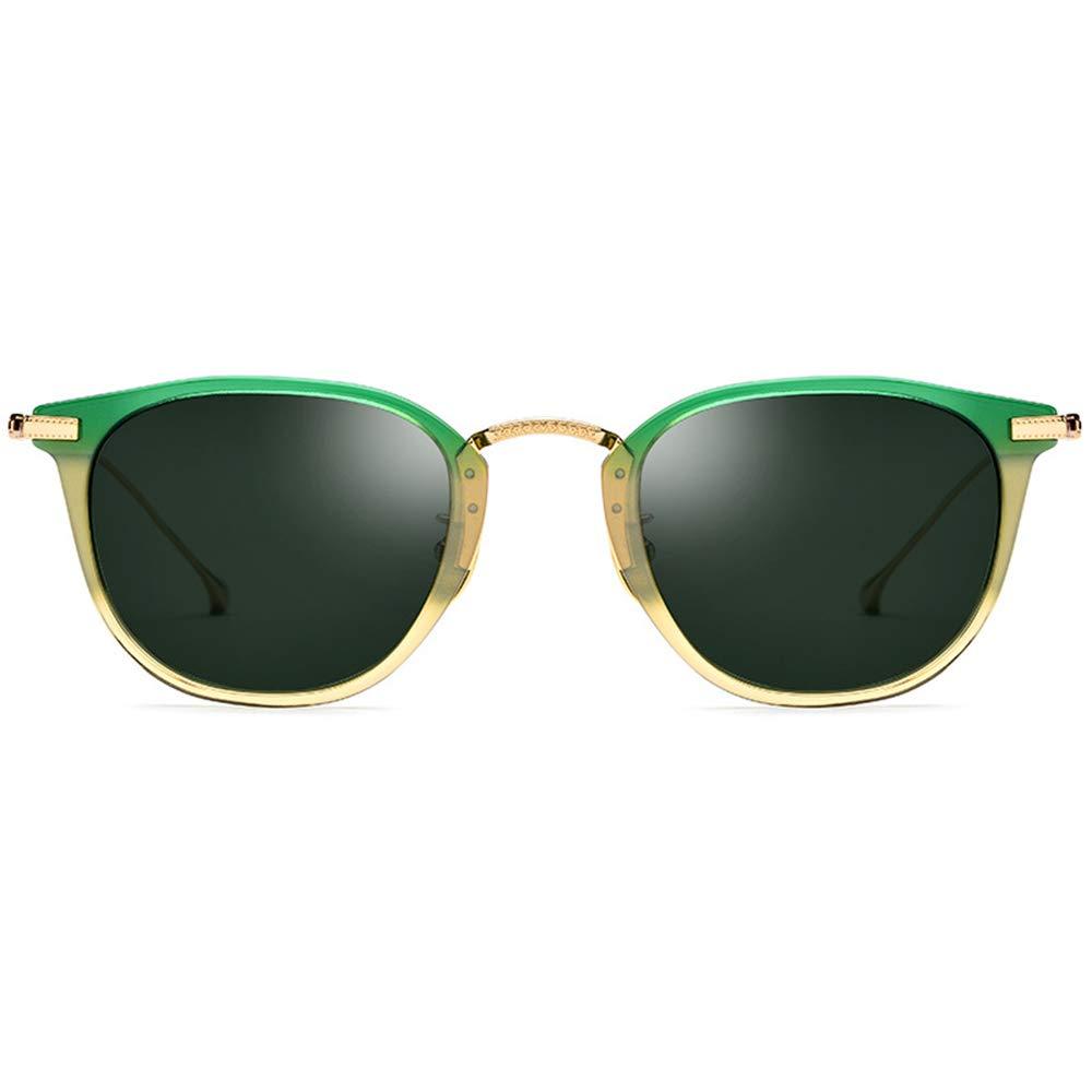 サングラス ユニセックスメガネスモールラウンド偏光サングラスミラーレンズ, ファッションサングラス  緑 B07S17QCDF