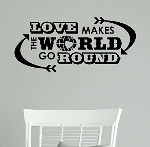 Vinyl Wall Decal Letters Quote, Love Makes the World Go Round, Black, 23x11-Inch