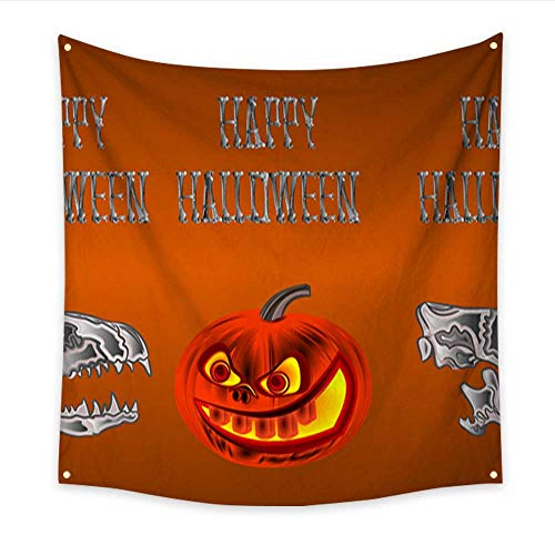 tapestry art Border seamless background Happy Halloween inscription of bones scary skull and pumpkin orange holiday background vector illustration editable Bedspread Dorm Accessories D 70W x 70L Inch