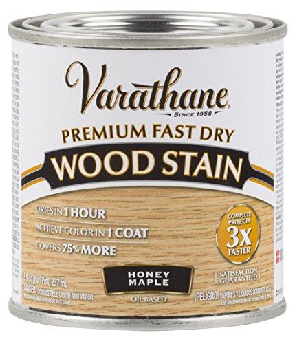 Varathane 313610 Premium Fast Dry Wood Stain, 1/2 Pint, Honey Maple