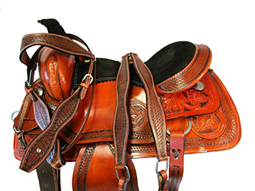 (PRO Western Floral Tooled Leather Roping Ranch Saddle HORSETRAIL TACK 15 16 17 (15))