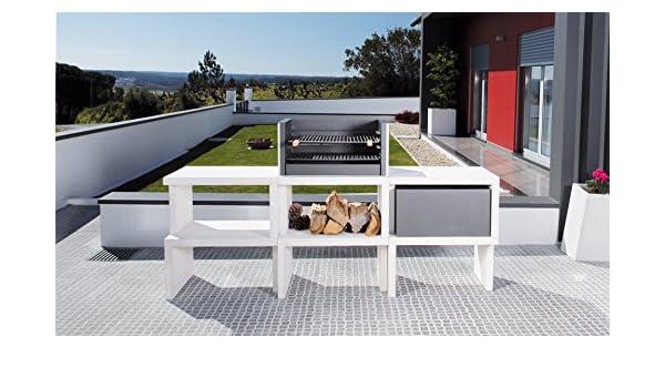 Barbacoa de Obra máximo diseño y calidad,De hormigón bruto hidrófugo blanco y negro: Amazon.es: Hogar