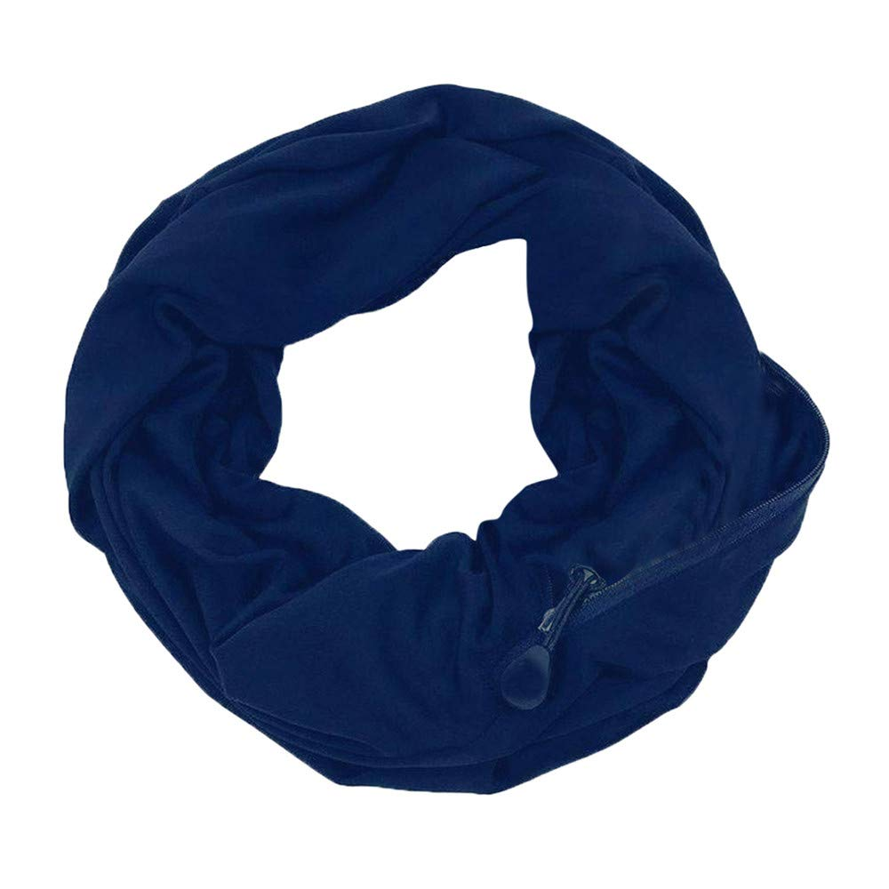 WensLTD Women Loop Scarf Zippered Secret Pocket Warm Couple Scarves