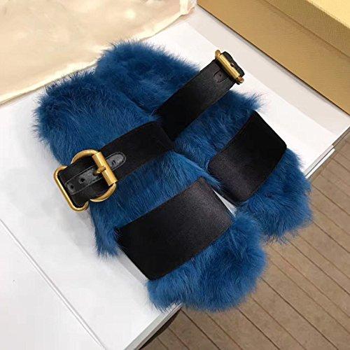 LaxBa Lhiver au chaud, lhiver Chaussons Chaussons moelleux Accueil chaleureux en hiver, chaussures antiglisse Chambre Chaussons blue35