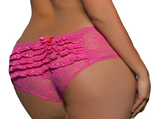 Lacy Line Plus Size Sexy Open Crotch Ruffled Back Floral Lace Panties (3x/4x,Pink)