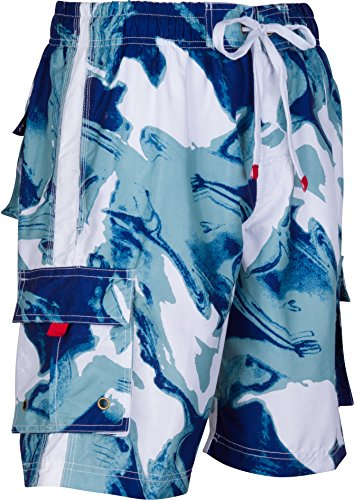 LA018113B - Mens Multi Color Wave Design Skate Surf Board Short / Swim Trunks (Various Colors And Sizes ) - navy/Medium