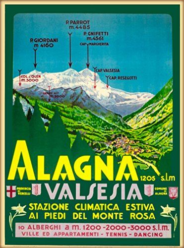 - A SLICE IN TIME Alagna Valsesia Alpine Ski Vercelli Piedmont Italia Italy Italian European Vintage Travel Advertisement Art Poster Print. Measures 10 x 13.5 inches