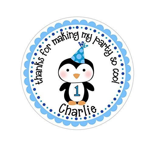 Personalized Customized Birthday Party Favor Thank You Stickers - Winter Wonderland Penguin Boy - Round Labels - Choose Your Size