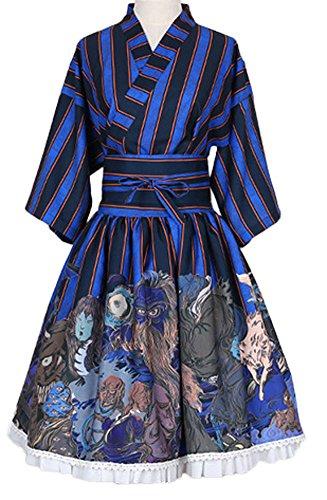 PlaidPlain-Womens-Japanese-Short-Kimono-Style-Hollowen-Lolita-Dress-With-Belt