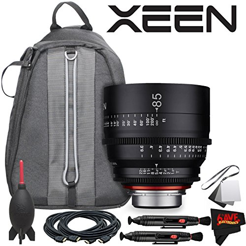 Rokinon Xeen 85mm T1.5 Lens for Canon EF Mount with Professional Lens Backpack and Accessories