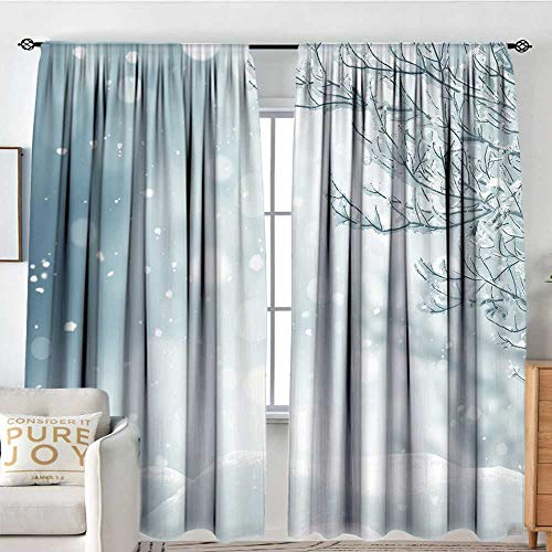 """NUOMANAN Blackout Curtains Winter,Christmas Themed Image Snow and Frosted Tree Snowflakes Winter Season Illustration,Rod Pocket Curtain Panels for Bedroom & Kitchen 60""""x84"""""""