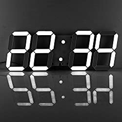Goetland 16 3/4 Jumbo Wall Clock LED Digital Multi Functional Remote Control Countdown Timer Temperaturer, White Digital on Black Shell