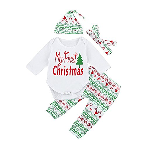 - 4Pcs My 1st Christmas Toddler Infant Baby Boy Girl Xmas Romper Tops + Pants + Headband Hat Party Outfits Set Costume (White, 12-18 M)