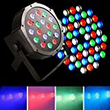 JUDYelc 18 LED Parabolic Aluminum Reflector(PAR)7 Colors Lights for Stage flashing with 4 Work Models RGB Poweful Stage lamp for DJ Club Wedding Family Party Disco Celebration