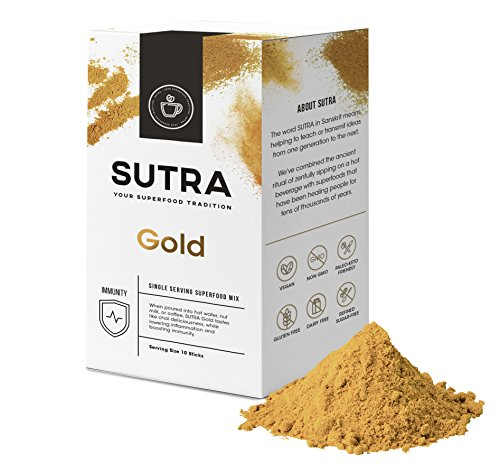 SUTRA Superfood Premium Flavored Organic Caffeine Free Coffee Substitute Alternative - Instant Superfood Beverage Blend Vegan Paleo-Keto NonGMO Gluten Free Dairy Free (Gold Chai: Box of 10 Sticks)