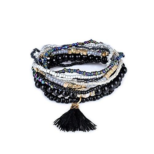 LUREME Bohemian Beads Pearl Tassel Multi Strand Textured Stackable Bangle Bracelet Set-Black(bl003054-2)