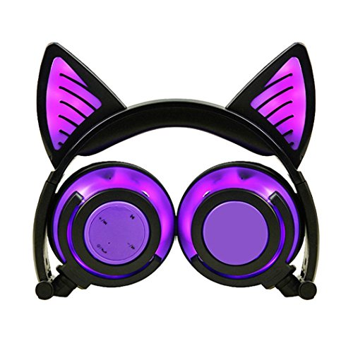 Yeefant Adjustable Universal Compatibility Cat On Ear Headphones LED Head Mounted Luminous Foldable Mobile Phone Music Headset For Kids Earphone,7.5x6.0x1.7 Inches ()