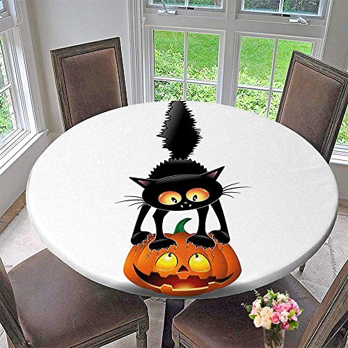 Mikihome Round Tablecloths Black Cat on Pumpkin Head Spooky Characters Halloween Themed or Everyday Dinner, Parties 43.5