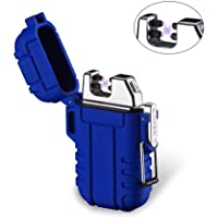 Rechargeable Dual Arc Plasma Lighter, AUOKER Waterproof Arc Cigarette Lighter with Free USB Cable & Sling for Camping, Cooking, BBQ, Fireworks - Windproof, Splashproof, Flameless- Metal Candle Lighter