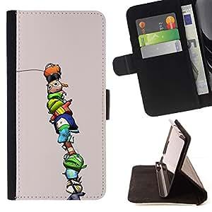 For Samsung Galaxy S6 EDGE (NOT S6) Plus / S6 Edge+ G928 Case , Personajes niños lindos divertidos púrpura- la tarjeta de Crédito Slots PU Funda de cuero Monedero caso cubierta de piel