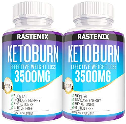 Keto Pills - 3X Potent (2 Pack | 180 Capsules) - Weight Loss Keto Burn Diet Pills - Boost Energy and Metabolism - Exogenous Keto BHB Supplement for Women and Men (2 Pack) Rastenix