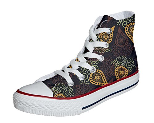 Converse All Star zapatos personalizados Unisex (Producto Artesano) Brown Paisley