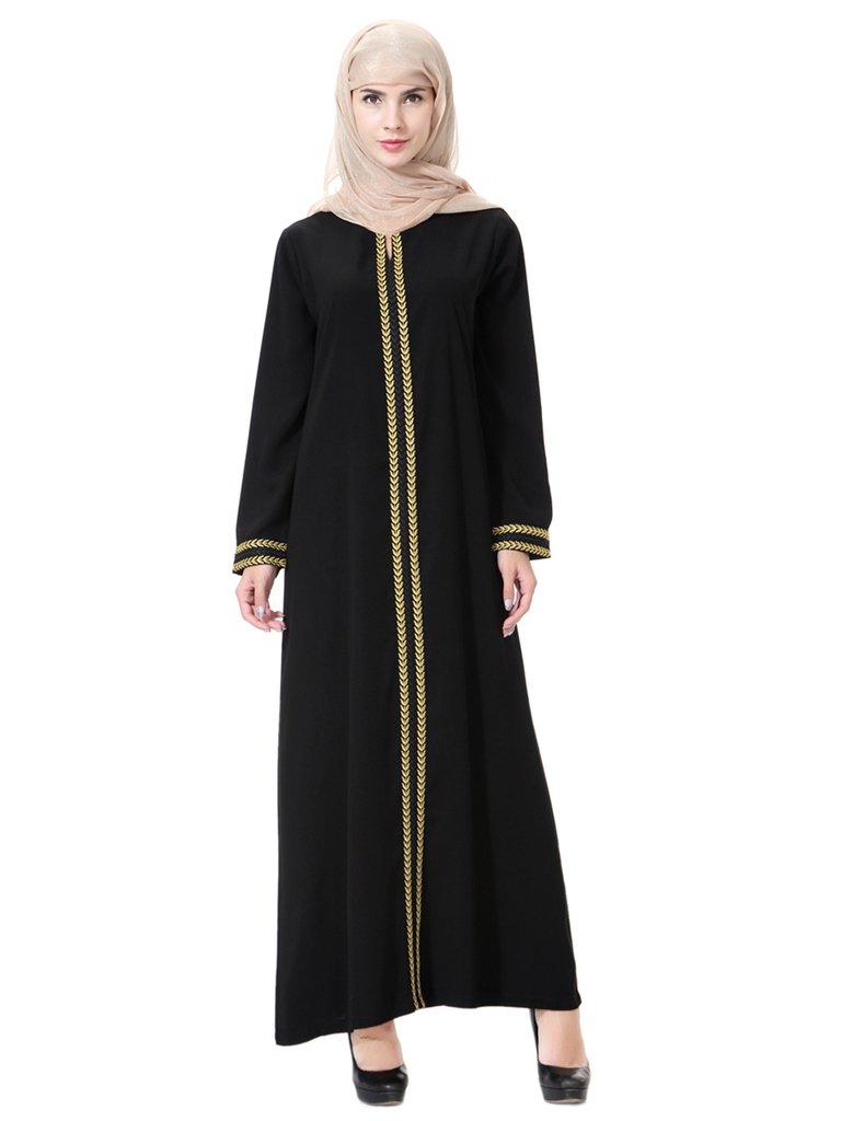 GladThink Womens Muslim Kaftan Abaya Round Neck Maxi Dress Gold L
