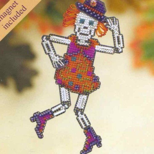 Mrs Bones Beaded Counted Cross Stitch Halloween Ornament Kit Mill Hill 2009 Autumn Harvest MH18-9202]()