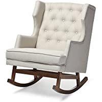 Baxton Studio Iona Mid-Century Retro Modern Fabric Upholstered Button-Tufted Wingback Rocking Chair, Light Beige