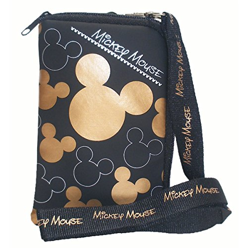 Mouse Purse (Disney Mickey Mouse Black Gold Lanyard with Cell Phone Case or Coin Purse (1)