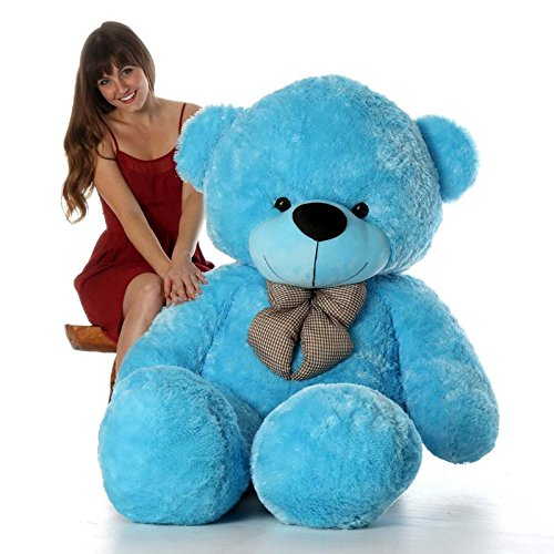 CLICK4DEAL Life Size Stuffed Teddy Bear with Neck Bow (Blue, 6 Feet/180cm)