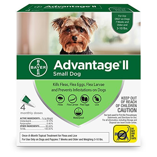Bayer Advantage II Flea and Lice Treatment for Small Dogs, 3-10 lb, 4 doses